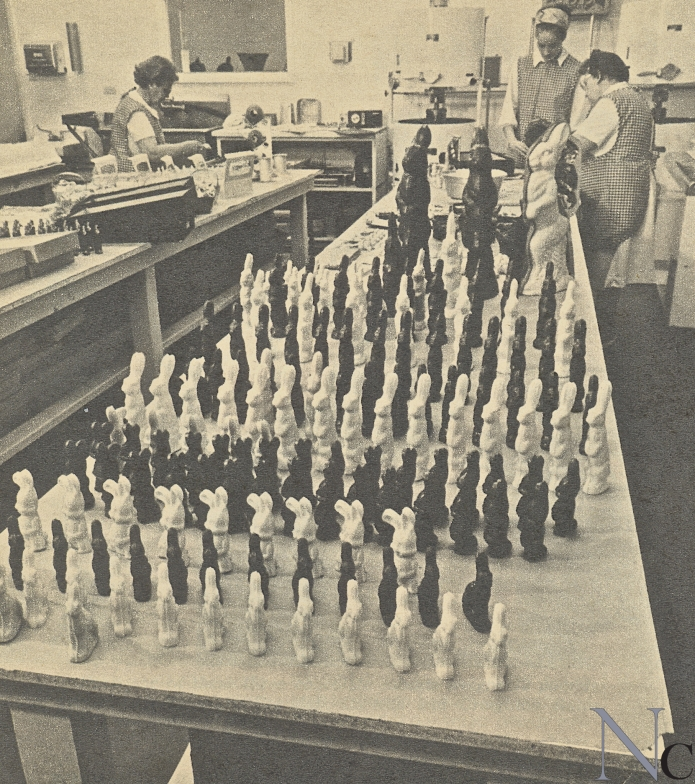Solid chocolate bunnies being made ~ circa 1960's